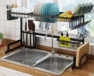 Kitchen Organization and Storage Over Sink Dish Drying Rack, Space Saving Drainer Shelf Silverware Cutlery Organizer Utensil Holder Sink Caddy, Stainless Steel by SHINKODA