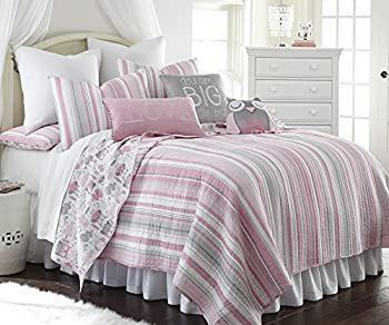 Daniella Full/Queen Cotton Quilt Set Pink Grey Stripes and Owls on Reverse Side