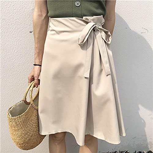 Falda Mujer Falda De Mujer Sólida con Lazo, Novedad De Verano para Mujer, Versión Coreana, Falda Fina,...