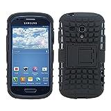 kwmobile Hybrid Outdoor Hülle für Samsung Galaxy S3 Mini i8190 mit Ständer - Dual TPU Silikon Hard Case Handy Hard Cover in Schwarz
