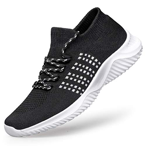 [MOXOCO] スポーツシューズ ウォーキングシューズ ランニングシューズ レディース ジョギングシューズ 運動靴 ジムトレーニング 超軽量 カジュアル クッション性 白黒25.5cm