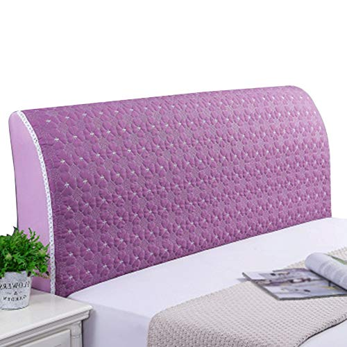 ZWDM Headboard Head Slipcover with Stretch and Pocket Allinclusive Cotton Cover Headboard Bedroom Decoration (Color : Purple, Size : 1.8x60cm)