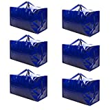VENO Thick Over-Sized Organizer Storage Bag with Strong Handles and Zippers for Travelling, College Carrying, Moving, Camping, Christmas Decorations Storage, Made of Recycled Material (6 Packs)