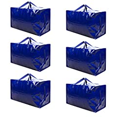DURABLE & HEAVY DUTY: One of the strongest moving/storage bag in the maket. These bags are made from durable woven 180gsm coated polypropylene woven material. They will safely hold up to 50lbs. CONVENIENT: These bags can be folded up completely flat ...