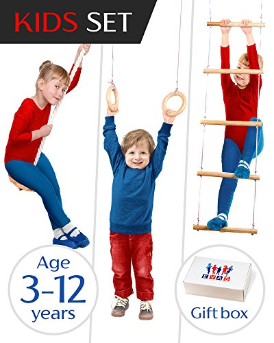 EVAS Kids gym play set – Gymnastics kit include swing, climbing ladder, gymnastics rings