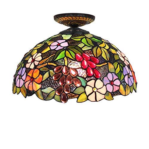 Kemeng Europese Pastorale hanglampen, 16 inch Europese restaurant-plafondlampen van gekleurd glas, kroonluchter in Tiffany-stijl met lamp