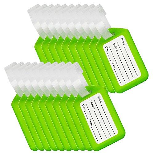 BlueCosto 20x Verde Etiquetas para Equipaje Etiqueta para Dirección de Maleta Luggage Tags