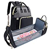QIMIAOBABY Multifunction Travel Mummy Bag, Diaper Bag, Portable Travel Bed (Black with Gray)