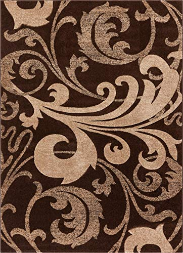 Uptown Squares Ivory & Brown Modern Geometric Comfy Casual Hand Carved Area Rug 9x13 ( 9'2' x 12'6'...