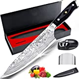 """MOSFiATA 8"""" Super Sharp Professional Chef's Knife with Finger Guard and Knife Sharpener, German High Carbon Stainless Steel EN1.4116 with Micarta Handle and Gift Box"""