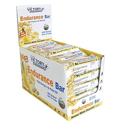 Victory Endurance Barrita Endurance Chocolate blanco- Plátano, enérgetica, natural y sin aceite de palma (25x85 g) 46% de avena