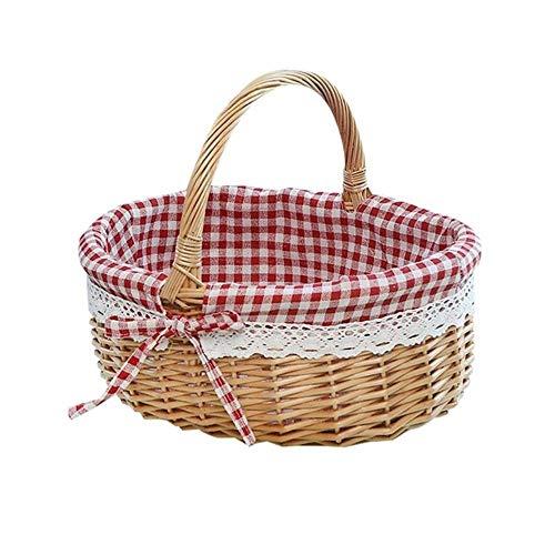 SASDA Seagrass Basket Hand Woven Picnic Bag Gift Basket Wicker Storage Basket Linen Inner Basket for Storage Use,26x20x28cm