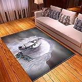 Alfombra Estampada Caballo Animal Blanco Gris Alfombra Moderna Lavable Duradera Anti-desvanecimiento 160 x 230 cm Antideslizante Salón Alfombra Cocina Alfombra
