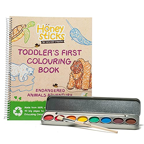 Honeysticks My First Coloring Book and Non Toxic Watercolor Paint Set - Premium Quality Jumbo Coloring Book Made with Recycled Paper PLUS Natural Water Color Paint Pallet - Wonderful Gift for Toddlers
