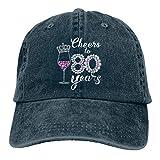 Jopath Cheers to 80 años 80 cumpleaños Diamond Wine Crown Hat, gorra de béisbol ajustable lavable algodón