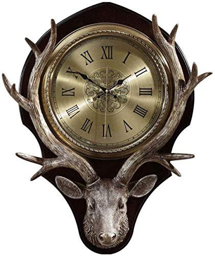 Reloj de Pared Reloj de Pared Reloj de Pared con Cabeza de Ciervo Antiguo Superficie de Metal Arte de Pared Digital Romano Decoración Diseño de simula
