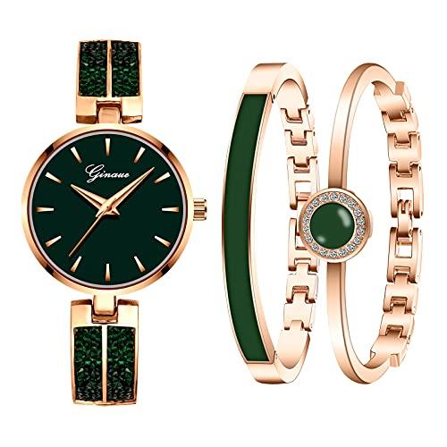 Souarts Geschenke für Frauen, Damenuhr Rosegold Strass Armreif Geschenkset, Armbanduhr Schmuck Set, Analog Quarz Uhr Set Damen(Grün)