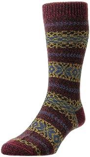 Scott-Nichol Mens Country Fairisle Stripe Wool Socks