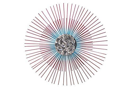 Extravagante KunstLoft® Metall Wandskulptur 'Mondschein' 80x80x6cm | Design Wanddeko XXL handgefertigt | Luxus Metallbild Wandrelief | Runde Sonne mit Strahlen in Rot & Blau | Wandbild modern