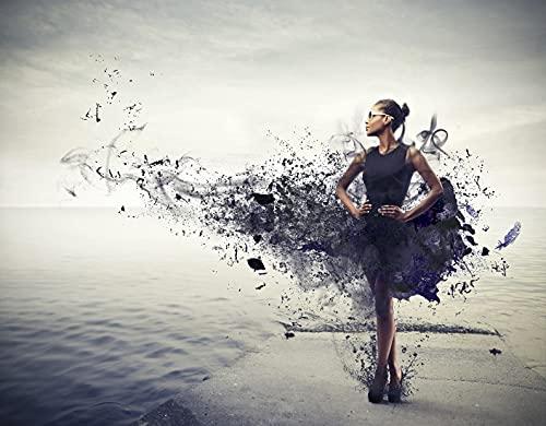 TISAGUER 5D Diamante Pintura por Número Kit,Chica negra con un vestido negro que se convierte en pintura de pie en un muelle,Bricolaje Diamond Painting kit completo Bordado Decoración del hogar