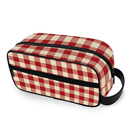 Outils de stockage Cosmétique Train Case Maquillage Sac Voyage Portable Trousse De Toilette Bourse Simple Rouge Plaid Imprimer