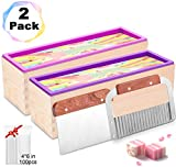 Farielyn-X 2pcs Silicone soap molds kit - 42 oz Flexible Rectangular Loaf Soap Mold kit Comes with Wood Box,Stainless Steel Wavy & Straight Scraper for CP and MP Soaps Making Supplies (soap Mold kit)