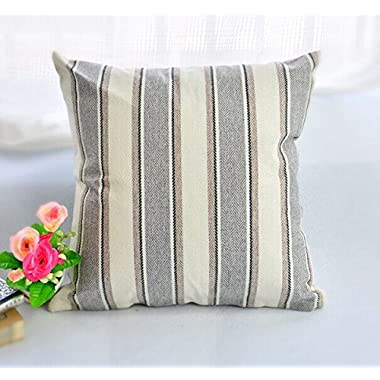 BLUETTEK Cool Stripe Pillow Cases Cotton Linen Square Decorative Throw Cushion Cover-18  x 18  (Light Gray)