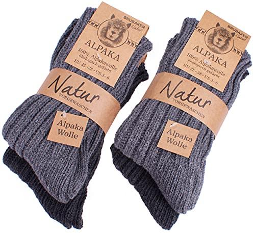 Brubaker 4 Paar Alpaka Socken Grautöne 100% Alpaka 43-46