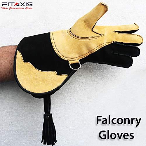 FITAXIS Falkner-Handschuhe, Wildleder, doppelwandig, Fleece, Fell, Vögel, Falken, Haustierhandschuhe, für kaltes Wetter, Linke Hand