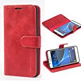 Mulbess Handyhülle für Samsung Galaxy J5 2016 Hülle, Leder Flip Hülle Schutzhülle für Samsung Galaxy J5 2016 Duos Tasche, Wein Rot