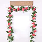 Xuejing Seda Artificial Rose Flower Vine Colgante de Pared Decoración de Flores Ratán Planta Falsa Guirnalda de Hojas Boda romántica Decoración del hogar Decoración del hogar-Rosa Oscuro