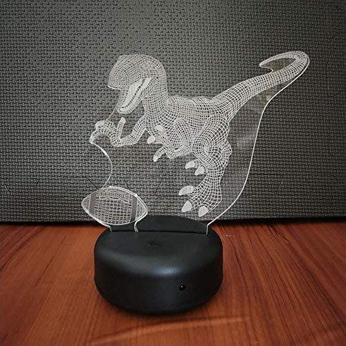 GCCQT Schöner Rugby-Dinosaurier3D-LED-Nachtlicht, USB-Nachtlicht, 7-farbiger Touchscreen-Blinkschalter