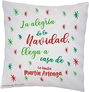 Cojin la alegría Navidad 40x40 cm, incluye relleno. Idea original decoración personalizado. Regalo amigo invisible navideño