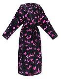 Women's Robe Plush Hooded Printed Flannel Fleece Bath Robe w/Side...