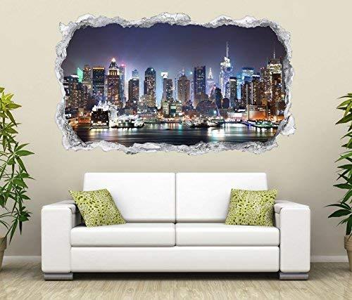 3D Wandtattoo Durchbruch Skyline New York Stydt USA Wand Aufkleber Wanddurchbruch sticker selbstklebend Wandbild Wandsticker Wohnzimmer 11O2319, Wandbild Größe F:ca. 162cmx97cm