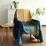 MayNest Bohemian Tribal Throws Blankets Reversible Colorful Red Blue Boho Hippie Chenille Jacquard Fabric Throw Covers Large Couch Furniture Sofa Chair Loveseat Recliner Oversized (Blue, S:60x75)