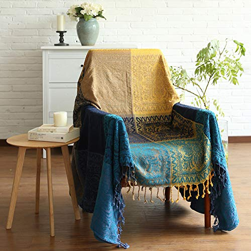 MayNest Bohemian Tribal Throws Blankets Reversible Colorful Red Blue Boho Hippie Chenille Jacquard Fabric Throw Covers Large Couch Furniture Sofa Chair Loveseat Recliner Oversized (Blue, S:75x60)