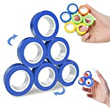 Chnaivy Magnetic Fidget Rings,6 PCS Decompression Finger Fidget Toys, Magnetic Rings Fidget Toys for Adults Kids Finger Therapy ADHD Anxiety and Relief Autism Stress (Blue)