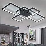 XIN'S LED Deckenleuchte Moderne Dimmbare Wohnzimmerlampe Deckenlampe Mit Fernbedienung Mode Deckenlampe Minimalistisches Metall Acryl Beleuchtung Schlafzimmer Küche Esszimmer Lichte,Schwarz,95w*110cm