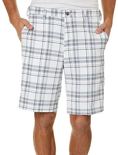Haggar Men's Cool 18 PRO Stretch Seersucker Plaid Waist Short, White, 42