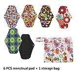 Crrs Toallas sanitarias Reutilizables, 6 Piezas Almohadillas menstruales de Flujo Pesado Servilletas de bambú de carbón Lavable Almohadillas de Lactancia posparto con Bolsa húmeda