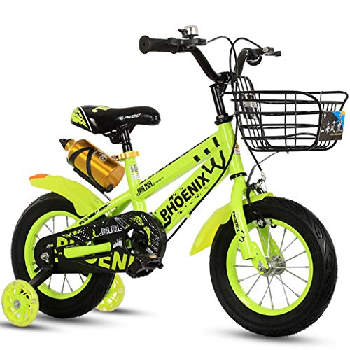 Longteng Las Bicicletas De 16 Pulgadas Ciclo Al Aire Libre De Bicicletas Antideslizante Ruedas con Auxiliar Intermitente Ruedas For Niños con Las Cestas For Niños Y Niñas (Color : Verde, Size : B)