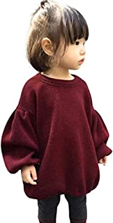 Zoiuytrg Newborn Infant Baby Girl Sweater Kid Long Sleeve Ruffle Warm Spring Fall Winter Pullover Tops Outfits - Red - 5-6T