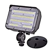 60W LED Flood Light with Knuckle, SZGMJIA Outdoor Security Fixture Dusk-to-Dawn Photocell 5000K 7,800lm(300W Equivalent) IP65 Waterproof with Base for Wall Mount for Entrance Garden Yards