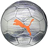 PUMA Trace Ball Balón de Fútbol, Unisex-Adult, Silver-Shocking Orange Black-Luminous Purple, 5