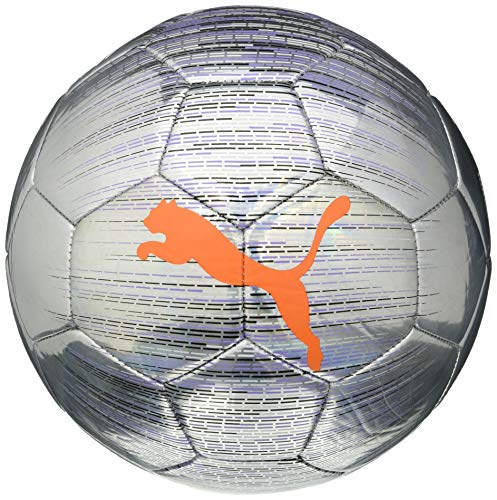 Puma Trace Ball, Pallone da Calcio Unisex-Adult, Silver-Shocking Orange Black-Luminous Purple, 5
