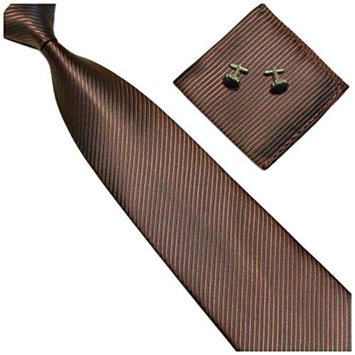 GASSANI 3-SET Braune Krawatte Streifen gestreift | Binder Dunkel-Braun Manschettenknöpfe Einstecktuch | Krawattenset zum Anzug Seide-Optik
