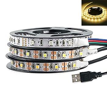 LEAQU 0.5/1/2/3/4/5m DC 5V USB 3528 SMD LED Strip Light USB TV Backlight Kit Wardrobe TV Background Lighting Decor Mood Lighting Warm White 0.5M