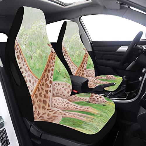 Enhusk 2 Stück Set Autoabdeckung Mädchen Originalmalerei Schöne Giraffen Masai Mara Rücksitzbezüge Kompatibel für Airbags Universal Fit für Autos LKWs und SUVs Decken Kleinkind ab