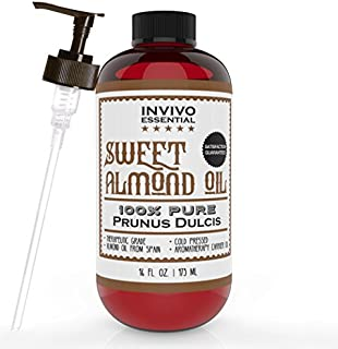 Invivo Essential Sweet Almond Oil (16 oz.) Pure, Cold-Pressed Carrier | Therapeutic Skincare and Anti-Aging Moisturizer | Rejuvenates Skin and Hair
